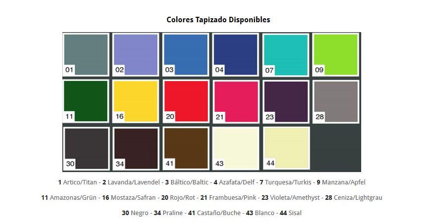Colores Tapizado Camilla Hidráulica 2 cuerpos